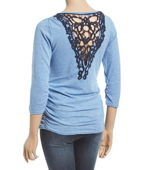 f162cc2f4fcec Mom & Co Blue Crochet-Back Maternity Henley Top | Zulily