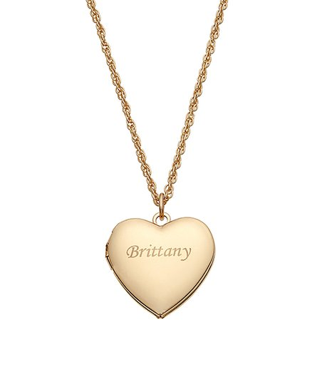 1ce173975 Limogés Kids Jewelry Goldtone Engraved Personalized Heart Locket ...