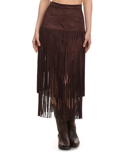 b0038a4ceb love this product Dark Brown Tiered Fringe Skirt - Plus Too