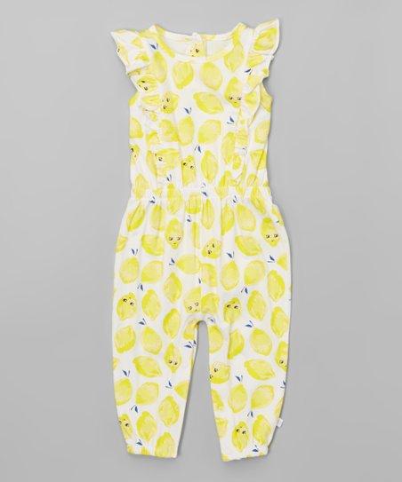 Yellow & White Lemons Angel-Sleeve Playsuit - Infant