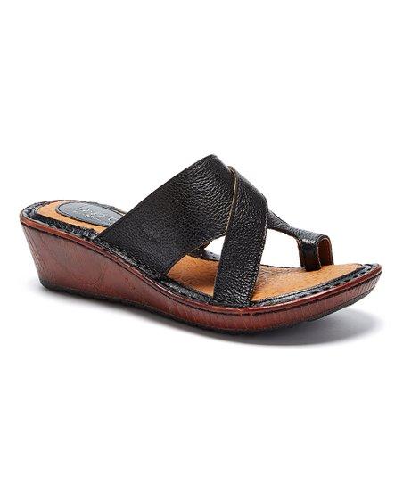 d1e1eae88c9c b.ø.c. Black Valerie Leather Wedge Sandal