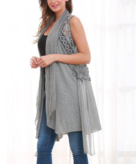 Simply Couture Gray Flower Crochet Sleeveless Cardigan Women Zulily