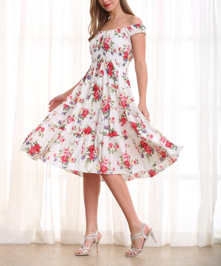 20a2fbce2e64 Simply Couture White   Pink Floral Tiered Off-Shoulder Dress - Women ...