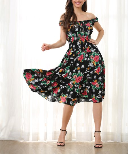 09a03c09478d love this product Black & Red Floral Ruffle Button-Front Off-Shoulder Dress  - Women