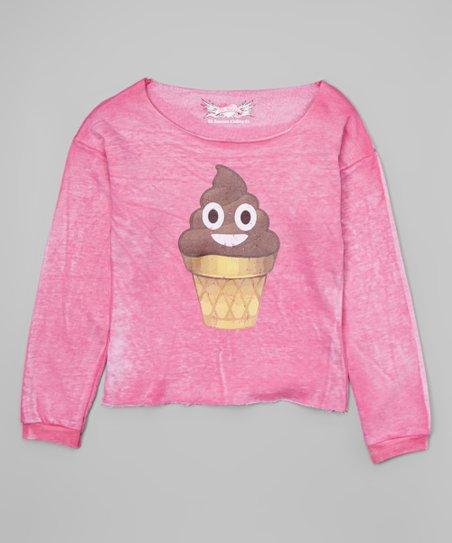So Nikki Pink Poop Emoji Ice Cream Cone Sweatshirt Zulily