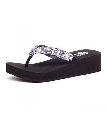 c7560302a867 Yellow Box Shoes Black   Purple Rhinestone Calandra Leather Sandal ...