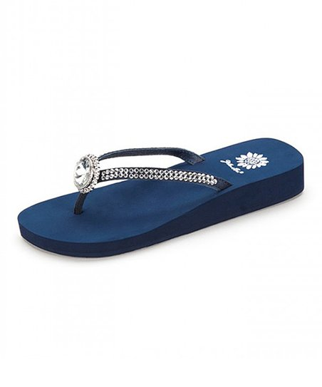 51dbfafa04025a Yellow Box Shoes Navy Rhinestone Fernanda Leather Sandal - Women ...