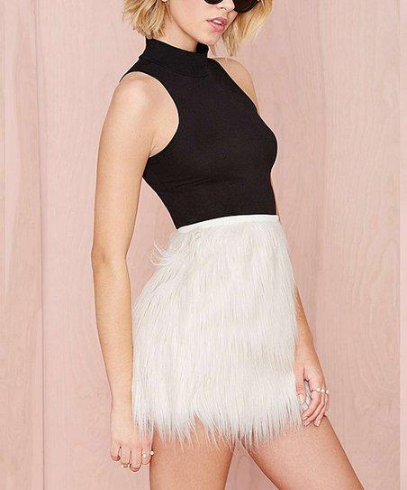 620c0cd3b2 HaoYouDuo White Faux Fur Mini Skirt | Zulily