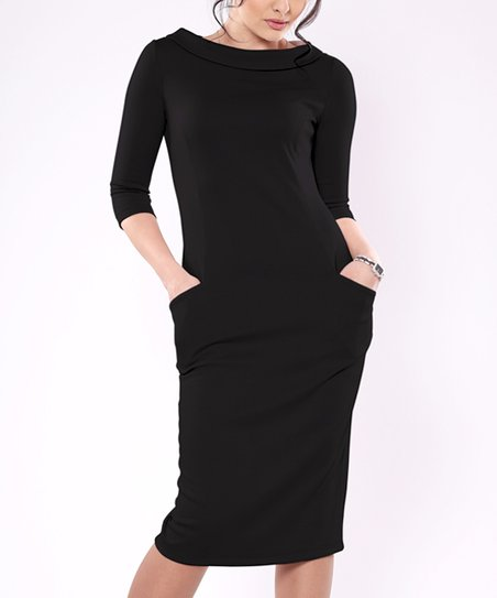 31f5cce3 Laura Bettini Black Pocket Boatneck Sheath Dress - Women | Zulily
