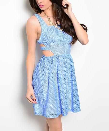 e365d53518 Blue Mesh-Overlay Cutout Skater Dress