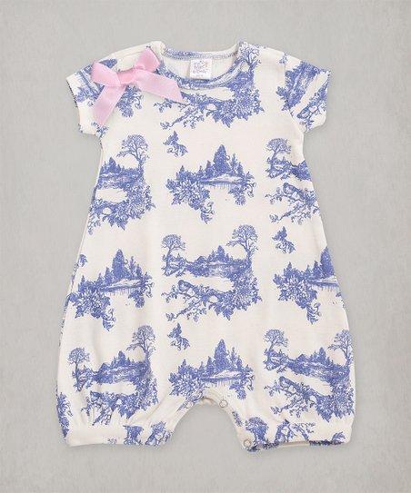 2e1ba787d663 Tesa Babe Blue Toile Bow Bubble Romper - Infant