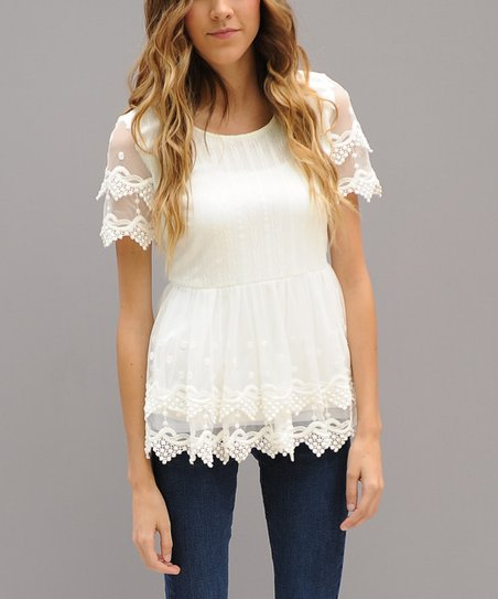 f3e159e994a7db love this product White Layered Lace Double Peplum Top - Women
