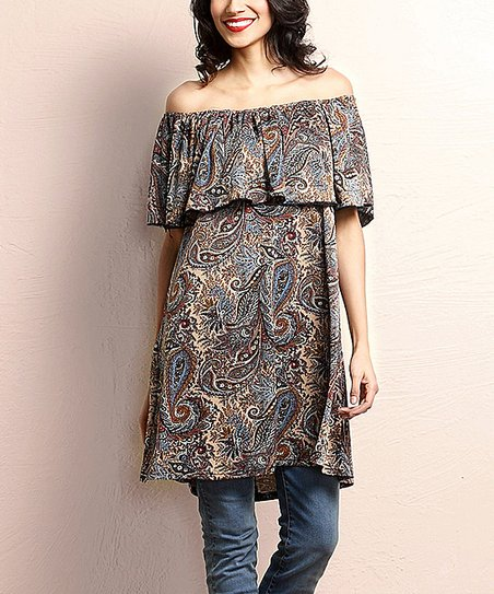 56c6bb109f40a0 Reborn Collection Brown Paisley Off-Shoulder Tunic - Women | Zulily