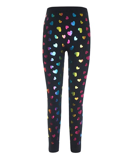 52e1acf6cab love this product Black   Rainbow Hearts Fleece-Lined Leggings - Girls