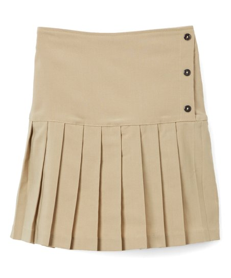 05b57fc977dabf Cuties Fashions Khaki Pleated Skirt - Girls   Zulily