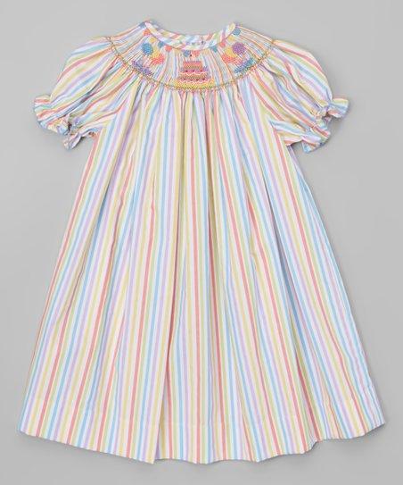 Bemine Blue Yellow Birthday Cake Bishop Dress Infant Toddler