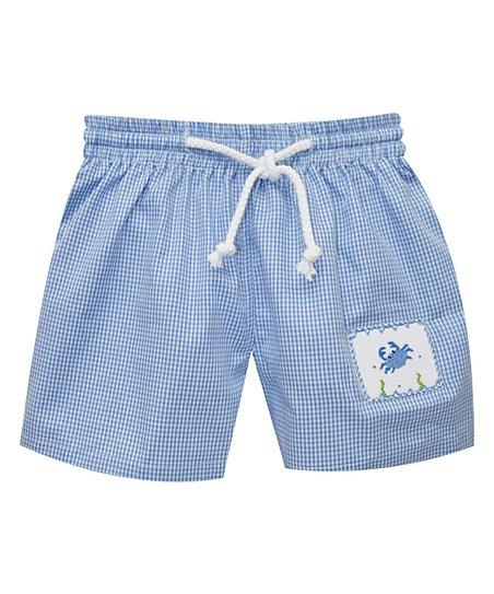 Silly Goose Blue Crab Smocked Swim Trunks - Toddler  666f66cfa
