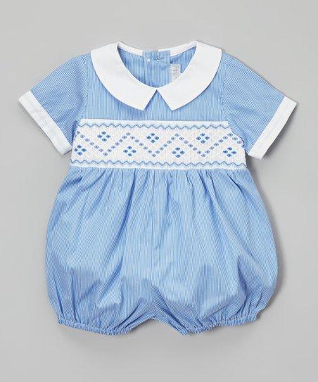 9d586e229823 Fantaisie Bebes Blue   White Smocked Bubble Romper - Infant