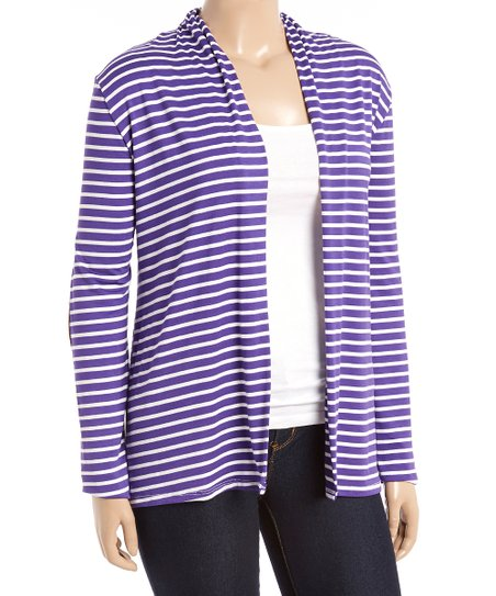 8e2e9399b7 love this product Violet   White Stripe Elbow Patch Open Cardigan - Plus