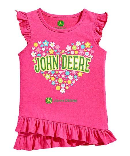 534baef15 love this product Magenta 'John Deere' Flower Heart Ruffle Tunic - Toddler