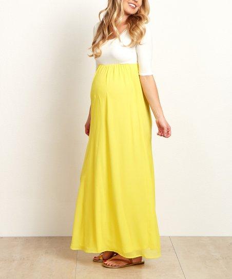 db5d8a82839 love this product PinkBlush Yellow Chiffon Color Block Maternity Maxi Dress