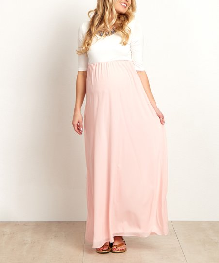 794428a9531d1 love this product PinkBlush Light Pink Chiffon Color Block Maternity Maxi  Dress