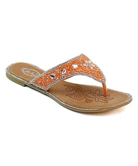 18c2276995d8b love this product Orange Rhinestone Crush Flip-Flop