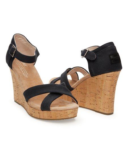 e564e7bf71f TOMS Black Canvas   Cork Strappy Wedge