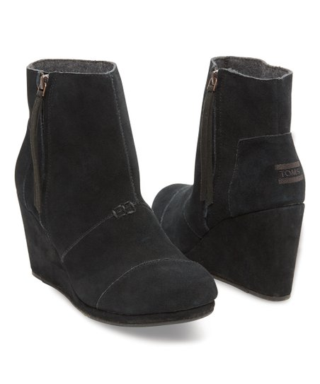 cbc22d6c057 TOMS Black Suede High Desert Wedge Booties