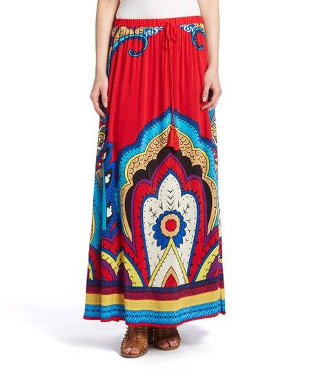 0ea5008f5a Meetu Magic Red & White Floral Deco Maxi Skirt | Zulily