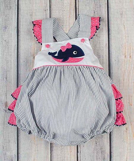 d18fcf00b07 love this product Navy   Pink Stripe Whale Appliqué Bubble Romper - Toddler