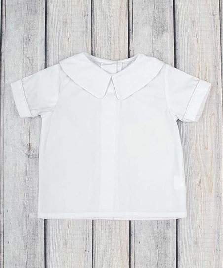 1e6722e9 Stellybelly White Peter Pan Short-Sleeve Shirt - Toddler & Boys | Zulily
