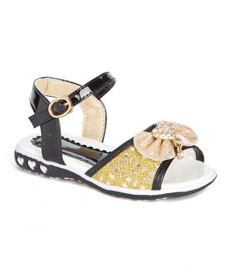 92187a3b8 love this product Black   Gold Rhinestone Heart Bow Sandal - Girls
