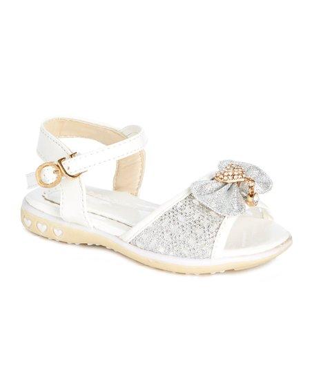 246b2d3db love this product White   Gold Rhinestone Heart Bow Sandal