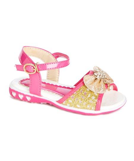 22409e296 love this product Fuchsia   Gold Rhinestone Heart Bow Sandal - Girls