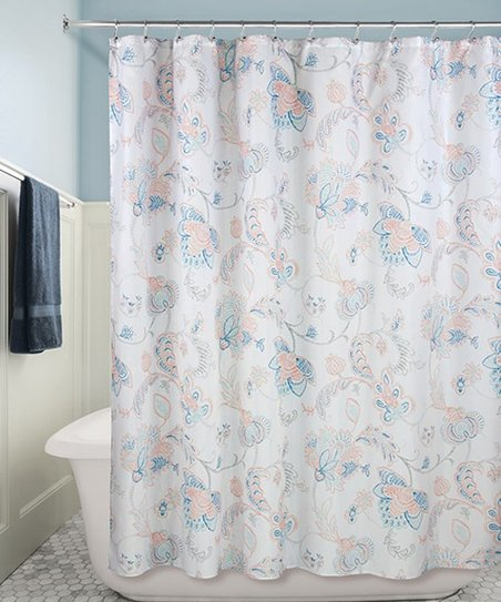 Love This Product Navy Gray Coral Shower Curtain