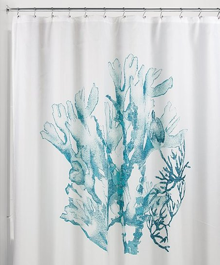 Deep Teal Coral Shower Curtain