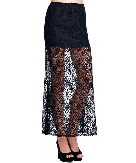 hot-selling real new cheap best shoes Mittoshop Black Sheer Lace Maxi Skirt