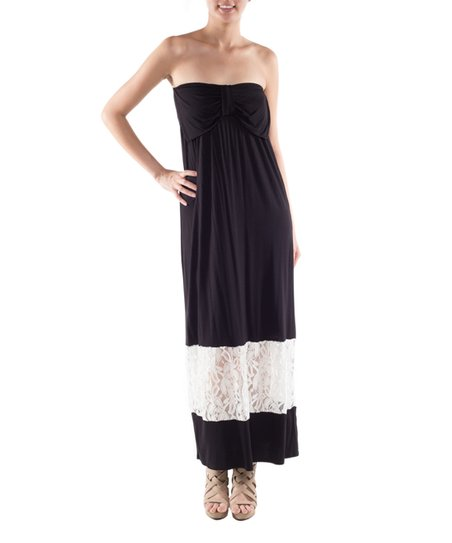 e85a0efb7db8 Coveted Clothing Black & White Lace Strapless Maxi Dress | Zulily