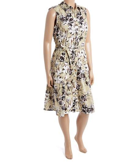 7542c9d1cd341 Mlle Gabrielle Cream Floral Sleeveless Shirt Dress - Plus