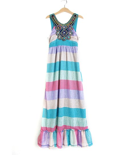 83d9c049834 love this product Purple   Red Stripe Beaded Linen-Blend Maxi Dress - Girls