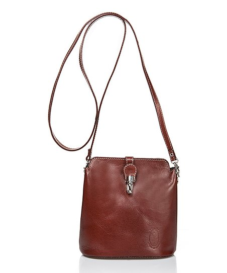 67444496f002 Massimo Castelli Brown Push-Lock Leather Crossbody Bag