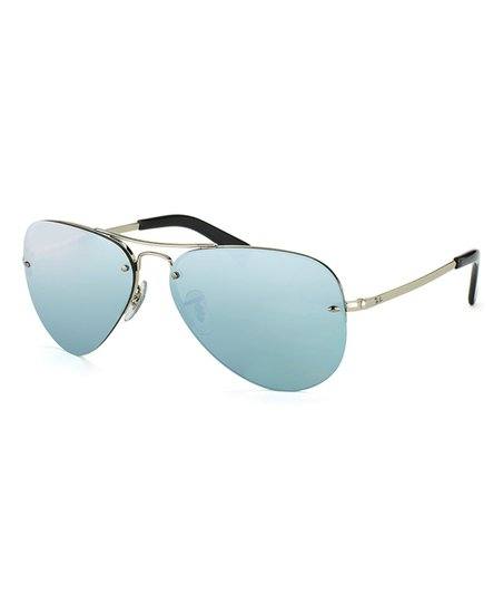 fd7ae8301a love this product Silver   Blue Rimless Aviator Sunglasses - Unisex