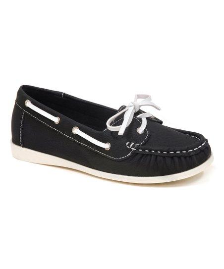 Spicy Footwear Black Contrast Boat Shoe