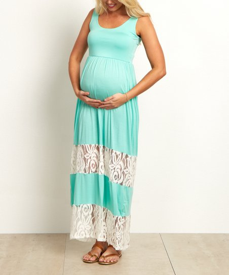 9324439d62d8e love this product PinkBlush Mint Green Lace Color Block Maternity Maxi Dress