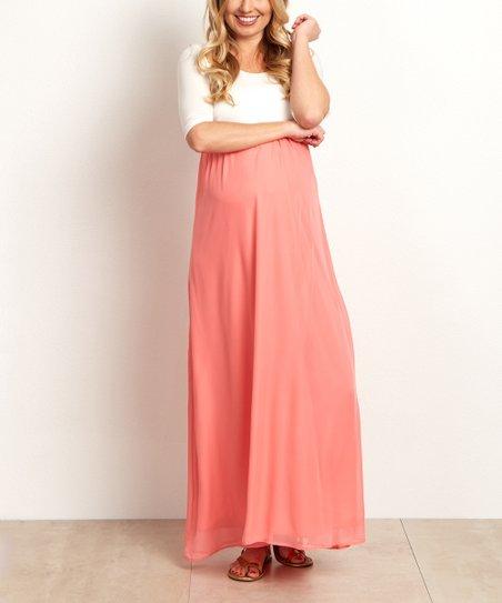 4b629f0a627cd PinkBlush Maternity Coral Chiffon Color Block Maternity Maxi Dress ...