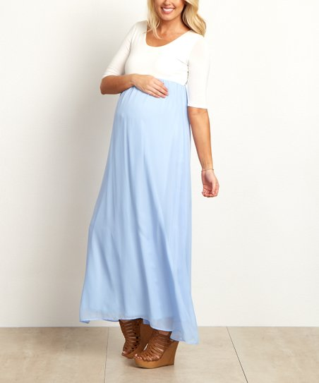 4cea7786a2782 love this product PinkBlush Light Blue Chiffon Colorblock Maternity Maxi  Dress