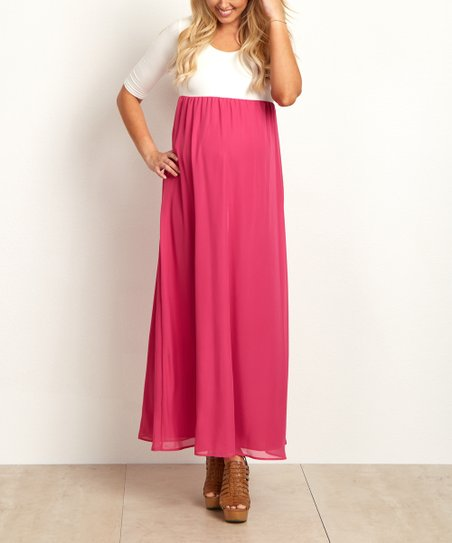 792093fb26e19 PinkBlush Maternity Fuchsia Chiffon Colorblock Maternity Maxi Dress ...