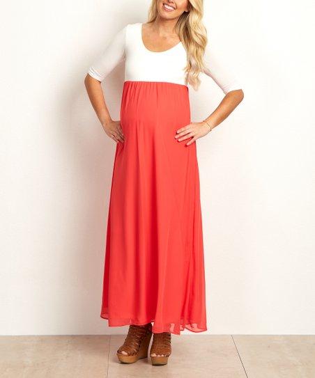 13cf9584d6d love this product PinkBlush Bright Coral Chiffon Color Block Maternity Maxi  Dress