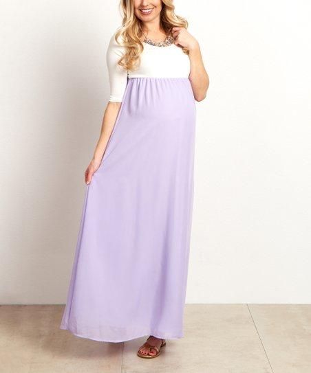 PinkBlush Maternity Lavender Chiffon Colorblock Maternity Maxi Dress ... a54dda1dc